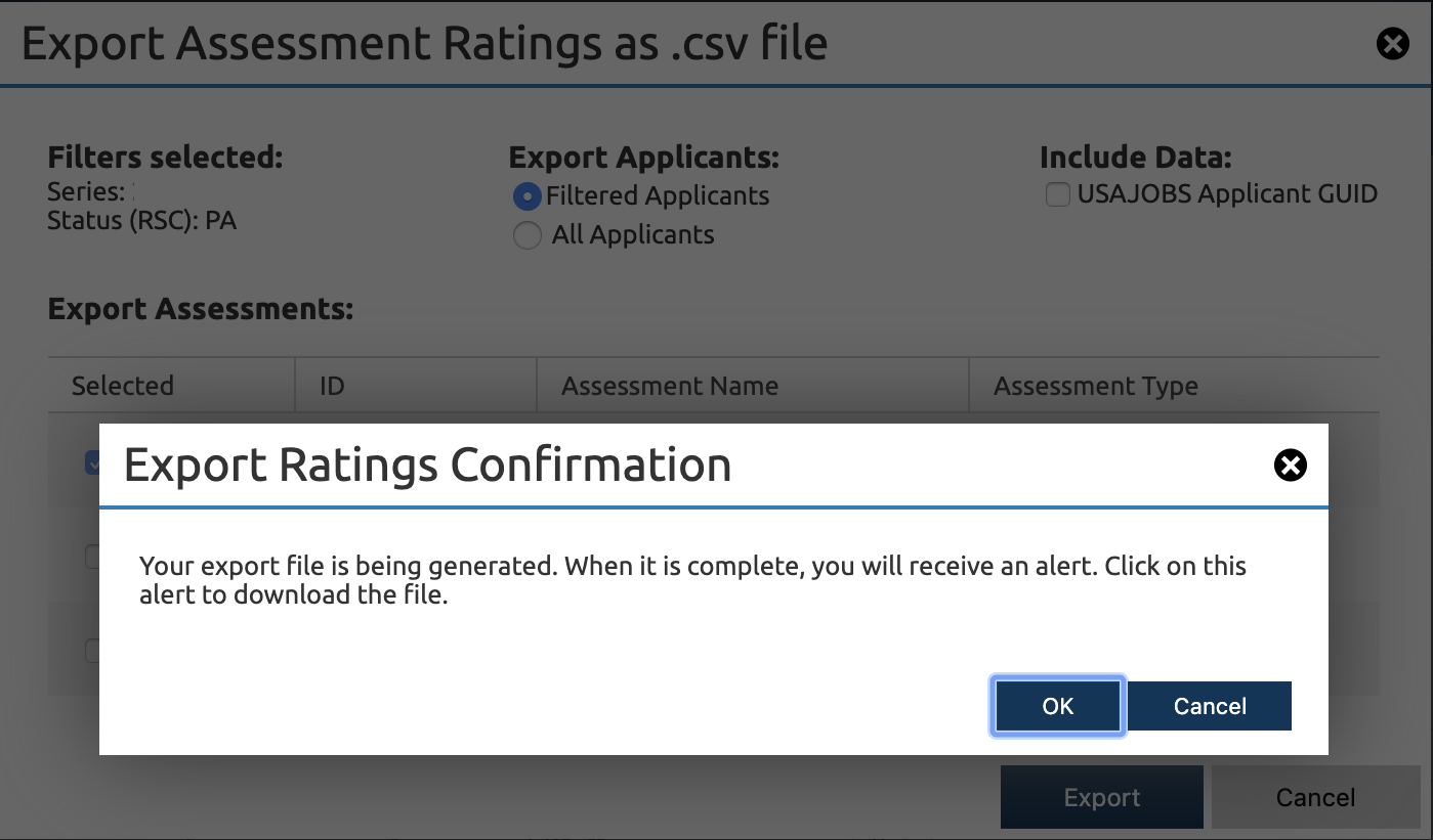 USA Staffing export confirmation dialog